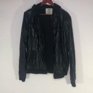 Chor Black Faux Leather Jacket Women's Large